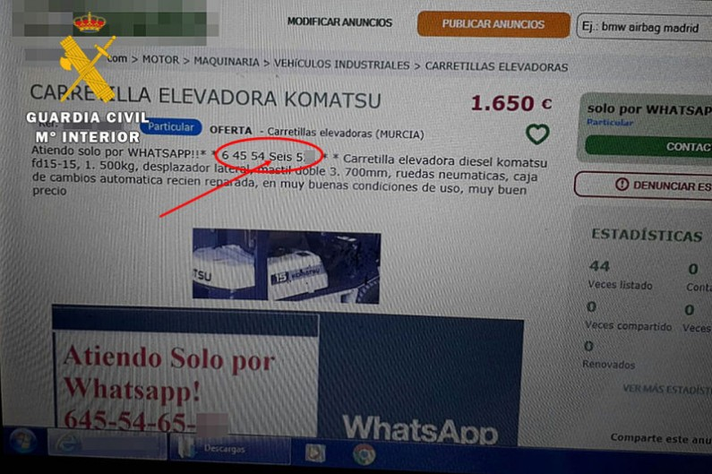 La Guardia Civil destapa un entramado nacional de estafas a través de Internet