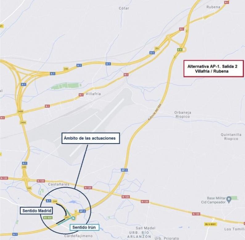 Mitma realizará trabajos de rehabilitación del firme en la circunvalación de Burgos entre los km 235 y 247 de la A-1