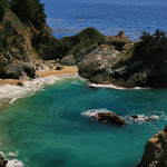 McWay Falls is an 80 foot waterfall located in Julia Pfeiffer Burns State Park that flows year-round