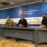 Rueda de prensa de presentación de la campaña de bonos al consumo. Leví Moreno, Fernando de la Varga y Consuelo Fontecha