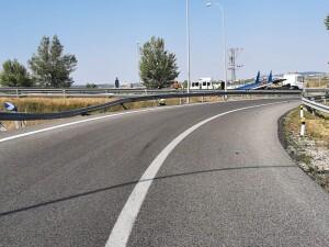 Lugar del accidente. Km 7 de la AP-1, dirección Vitoria